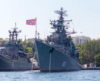 俄国大型驱逐舰机敏在塞瓦斯托波尔 免版税库存图片