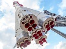 俄国太空火箭沃斯托克一的纪念碑 免版税库存照片