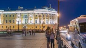 俄国宪法立法机关timelapse的大厦在纪念碑附近的对彼得我,鲍里斯的名字的图书馆大厦  影视素材