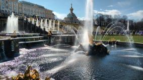 俄国宫殿、喷泉和公园 免版税库存图片