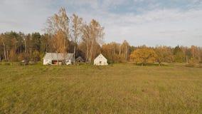 俄国小村庄 秋天是年的时期 空中行动视图 股票录像
