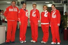 俄国小组网球 免版税库存照片