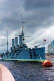 俄国巡洋舰极光,停泊在圣彼得堡 库存图片