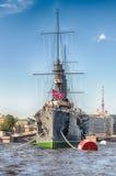 俄国巡洋舰极光,当前博物馆船,圣彼德堡, 库存图片