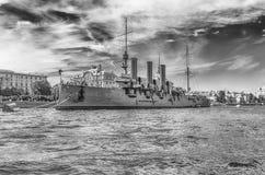 俄国巡洋舰极光,当前博物馆船,圣彼德堡, 图库摄影