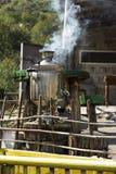 俄国式茶炊在一个树桩站立在庭院里 免版税库存图片