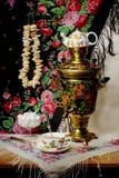 俄国式茶炊方向盘 库存照片