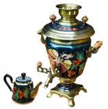 俄国式茶炊茶壶 免版税库存照片