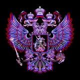 俄国徽章在黑背景的在三种颜色 免版税图库摄影