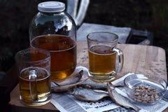 俄国快餐 啤酒和干鱼 库存照片