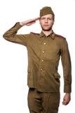 俄国战士向致敬 免版税库存图片