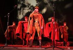 俄国战士的画象 戏剧`强比那里死亡是仅生活` 免版税库存图片