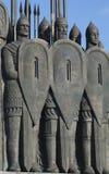 俄国战士 纪念碑争斗的细节在冰的在普斯克夫地区 库存照片