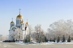 教会在冬天公园 免版税库存照片