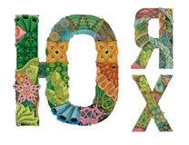 俄国斯拉夫语字母的信件 传染媒介装饰zentangle对象 免版税库存照片