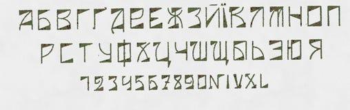 俄国斯拉夫语字母的字体和罗马数字 免版税库存图片