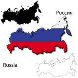 俄国旗子地图 免版税库存图片