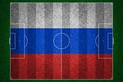 俄国旗标橄榄球领域 免版税库存照片