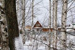 俄国村庄和木房子它的在一个冬天 免版税库存照片