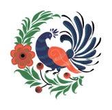 俄国标志是在花的一个孔雀 库存照片