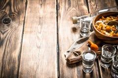 俄国样式 伏特加酒用烂醉如泥的蘑菇 库存照片