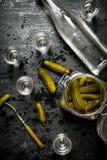 俄国样式 装瓶与小玻璃和酱瓜的伏特加酒 图库摄影