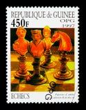 俄国棋子,棋serie,大约1997年 免版税库存照片