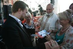 俄国歌剧歌手鲍里斯pinkhasovich,男中音, Mikhailovsky剧院的星,俄罗斯,对爱好者的签署的题名 免版税库存图片