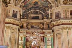 俄国正教大教堂寺庙内部 免版税库存图片