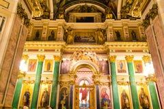 俄国正教大教堂寺庙内部 免版税库存照片