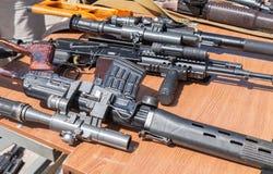 俄国武器 俄国小型武器样品  库存图片
