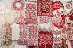 俄国民间艺术和工艺,刺绣,阿尔汉格尔斯克州oblast对象  免版税库存照片