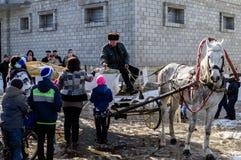 俄国民间冬天节日在2016年3月13日的卡卢加州地区 免版税库存照片