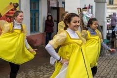 俄国民间冬天节日在2016年3月13日的卡卢加州地区 库存照片