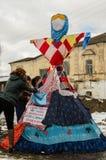 俄国民间冬天节日在2016年3月13日的卡卢加州地区 图库摄影