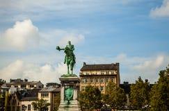 俄国沙皇时代的太子威廉二世卢森堡- 10月30日雕象地方的威廉II,卢森堡市 库存图片