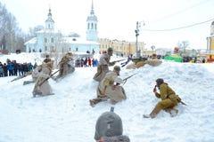 俄国沙皇的军队的争斗的重建 库存照片
