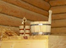 俄国浴的传统设备从木头 库存照片