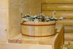 俄国浴的传统设备从木头 免版税图库摄影