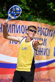 俄国海滩网球冠军2015年 库存照片