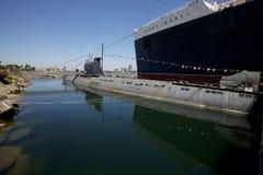俄国潜水艇在长滩 图库摄影