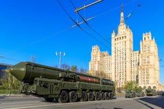 俄国热核在游行庆祝的武器洲际弹道导弹Yars 免版税图库摄影