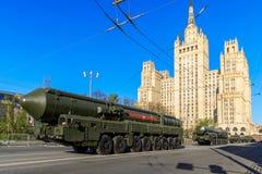 俄国热核在游行庆祝的武器洲际弹道导弹Yars 图库摄影