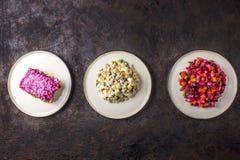 俄国烹调分类沙拉-奥利维尔沙拉,香醋-甜菜沙拉,鲱鱼沙拉 免版税图库摄影
