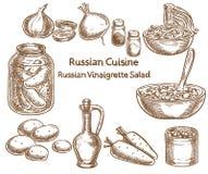 俄国烹调,俄国香醋沙拉,成份,传染媒介 免版税图库摄影