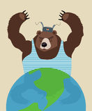 俄国熊威胁和平 背景玻璃地球查出的支持空白黄色 传统俄国克洛 库存照片