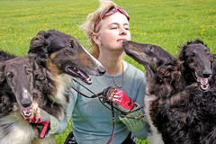 俄国猎狼犬cynologist尾随纯血种马 免版税图库摄影