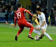俄国球场中央部分Aleksandr Samedov和韩国球场中央部分 库存图片