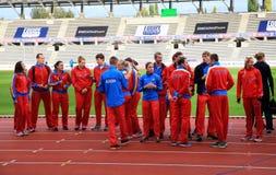 俄国田径运动在DecaNation比赛合作 库存图片