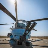 俄国直升机MI-35M现代大炮  图库摄影